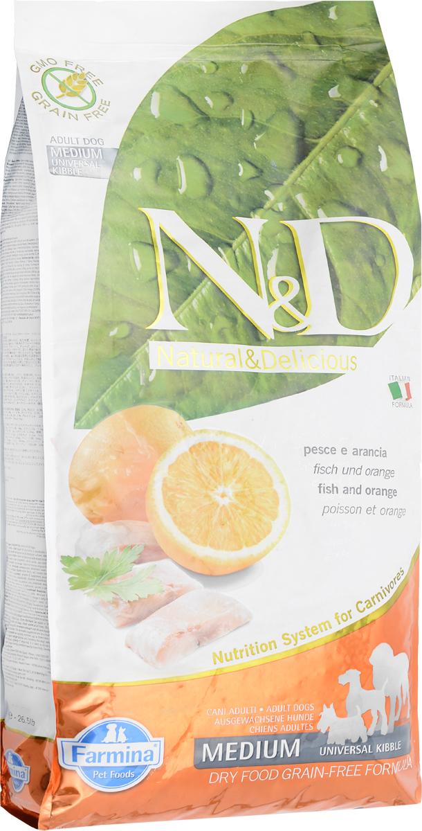 Корм сухой беззерновой Farmina N&D для собак, с рыбой и апельсином, 12 кг20291Сухой корм Farmina N&D является беззерновым и сбалансированным питанием для взрослых собак. Изделие имеет высокое содержание витаминов и питательных веществ. Сухой корм содержит натуральные компоненты, которые необходимы для полноценного и здорового питания домашних животных. Товар сертифицирован.