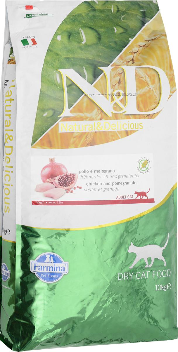 Корм сухой беззерновой Farmina N&D для взрослых кошек, с курицей и гранатом, 10 кг24930Сухой корм Farmina N&D является беззерновым полноценным питанием для взрослых кошек. Изделие имеет высокое содержание витаминов и питательных веществ. Сухой корм содержит натуральные компоненты, которые необходимы для полноценного и здорового питания домашних животных. Рецептура корма построена по принципу питания плотоядных. Товар сертифицирован.