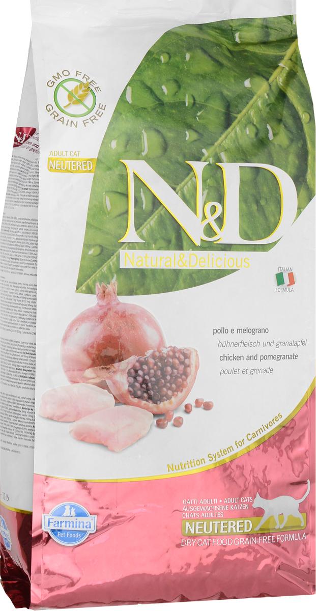 Корм сухой Farmina N&D для стерилизованных кошек и кастрированных котов, беззерновой, с курицей и гранатом, 5 кг32690Сухой корм Farmina N&D - беззерновое полнорационное питание для стерилизованных кошек и кастрированных котов. Продукт имеет высокое содержание витаминов и питательных веществ. Сухой корм содержит натуральные компоненты, которые необходимы для полноценного и здорового питания домашних животных. Товар сертифицирован.