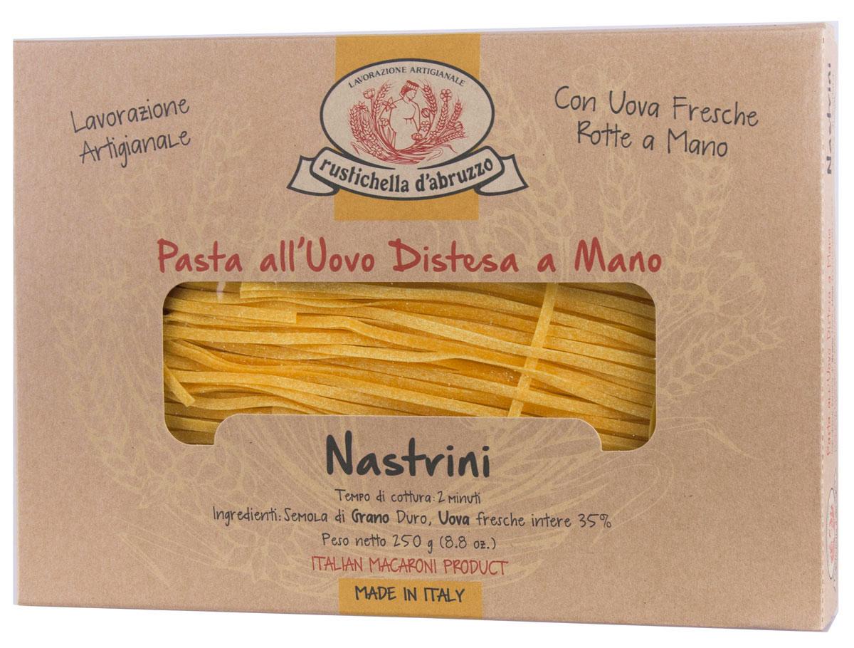 Rustichella паста Настрини, 250 г88181Паста Rustichella Настрини - это традиционная итальянская яичная паста, приготовленная в виде тонкой плоской лапши. Рекомендуется подавать ее с классическими овощными и нежными сливочными соусами (например, с морепродуктами). Rustichella - итальянская фирма, специализирующаяся на производстве макаронных изделий из твердых сортов пшеницы. Для изготовления макарон используется отборная пшеничная мука, замешанная с чистой горной водой, что придает макаронным изделиям уникальную консистенцию и вкус, который не сравнится ни с чем.