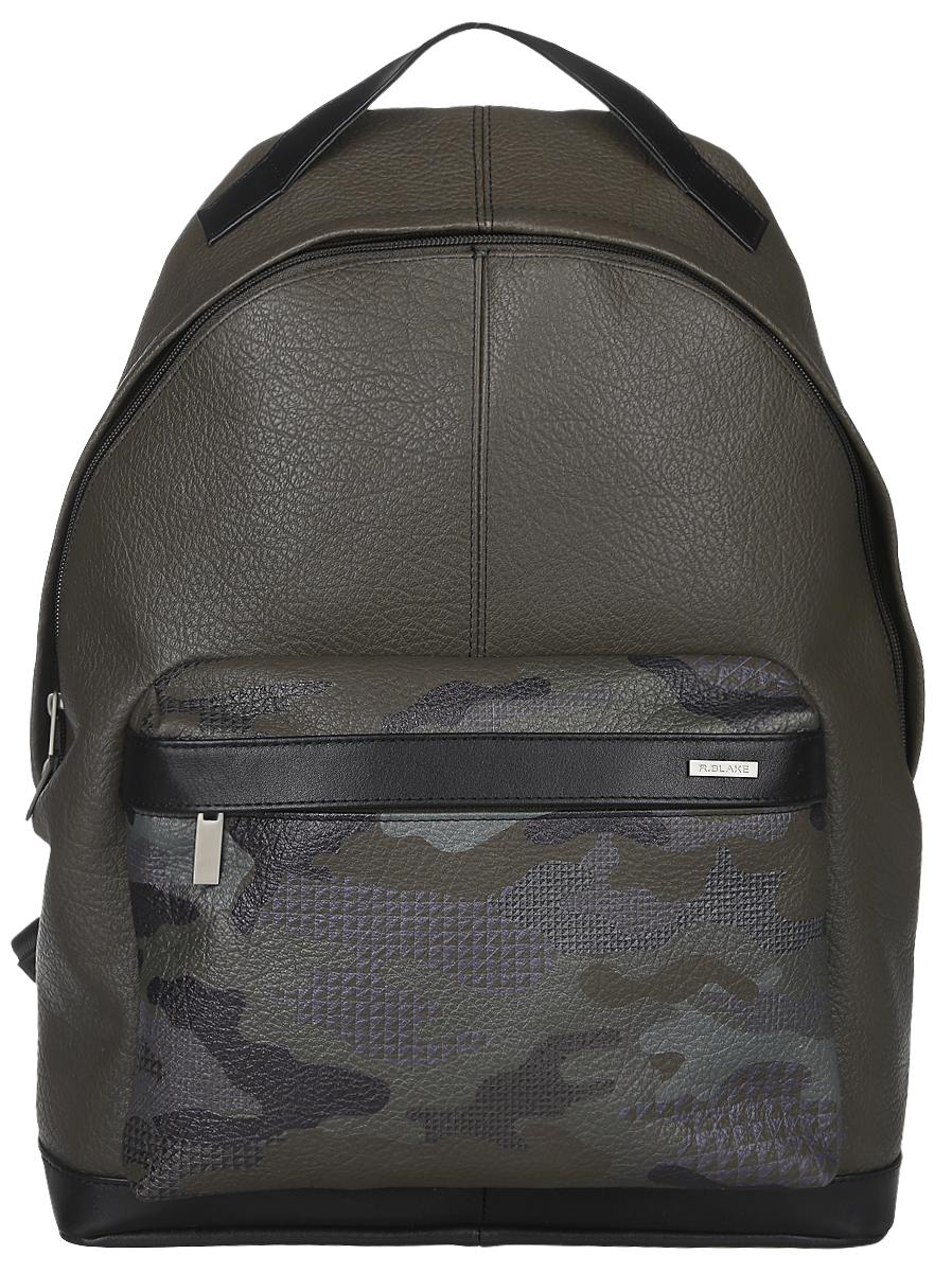 Рюкзак мужской R.Blake Hank Hunter, цвет: зелено-коричневый, черный. GHNK00-00ML13-FG222O-K100GHNK00-00ML13-FG222O-K100Стильный мужской рюкзак R.Blake Hank Hunter выполнен из натуральной кожи с зернистой фактурой и текстиля. Изделие имеет одно основное отделение, которое закрывается на застежку-молнию. Внутри изделия расположены прорезной карман на застежке-молнии и накладной открытый карман. Снаружи, на передней стенке находится объемный накладной карман на застежке-молнии, оформленный принтом в стиле милитари. Рюкзак оснащен широкими лямками регулируемой длины и ручкой для переноски в руке.