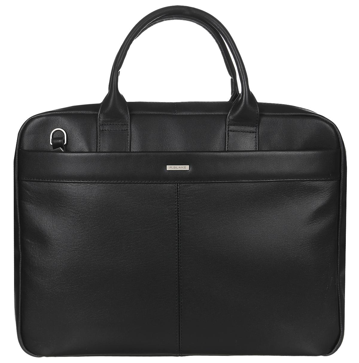 Сумка мужская R.Blake Stuart, цвет: черный. GSTT00-00ML06-A0201O-K100GSTT00-00ML06-A0201O-K100Стильная мужская сумка R.Blake Stuart выполнена из натуральной кожи. Изделие имеет одно отделение, которое разделено пополам перегородкой. Закрывается сумка на застежку-молнию. Внутри сумки расположены открытый накладной карман и прорезной карман на застежке-молнии. Снаружи, на передней стенке находится нашивной карман на застежке- молнии, на задней стенке - прорезной карман на застежке-молнии. Сумка оснащена двумя удобными ручками. В комплект входит съемный текстильный плечевой ремень, который регулируется по длине. Стильная сумка идеально подчеркнет ваш неповторимый стиль.