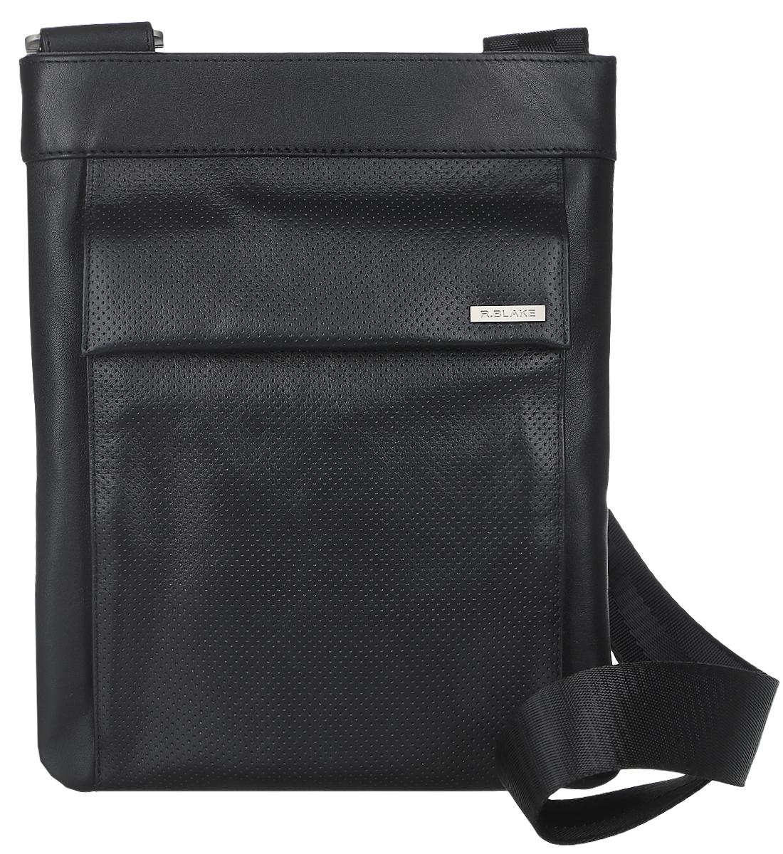 Сумка-планшет мужская R.Blake Orso Sport, цвет: черный. GORS00-00ML06-A0201O-K101GORS00-00ML06-A0201O-K101Стильная мужская сумка-планшет R.Blake Orso Sport, выполненная из натуральной кожи и текстиля, оформлена легкой перфорацией. Сумка имеет одно основное отделение, которое закрывается на застежку-молнию. Внутри находятся прорезной карман на застежке-молнии и накладной открытый карман. Снаружи, на передней стенке расположен накладной карман, закрывающийся на клапан с магнитными кнопками, на задней стенке - нашивной открытый карман. Сумка оснащена регулируемым текстильным плечевым ремнем.