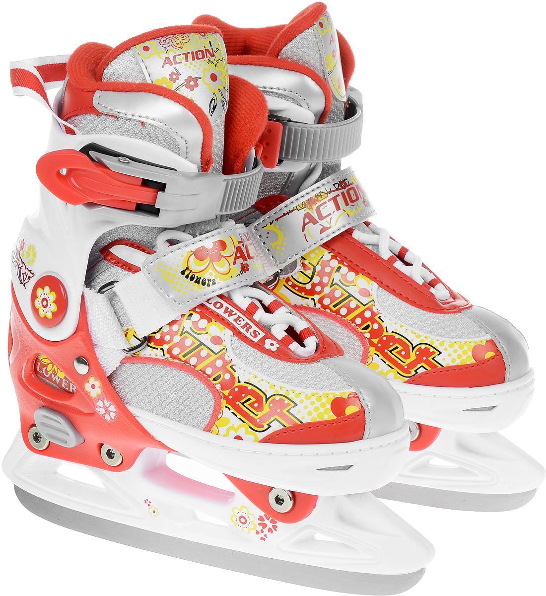 Коньки ледовые для девочки Action Sporting Goods, раздвижные, цвет: белый, красный. PW-113. Размер 33/36PW-113Яркие ледовые коньки для девочки Sporting Goods с ударопрочной защитной конструкцией отлично подойдут для начинающих обучаться катанию. Ботинки изготовлены из морозостойкого пластика, который защитит ноги от ударов. Пластиковая бакля с фиксатором, хлястик на липучке и шнуровка надежно фиксируют голеностоп. Внутренний сапожок, выполненный из мягкого текстиля, обеспечит тепло и комфорт во время катания. Фигурное лезвие изготовлено из нержавеющей стали со специальным покрытием, придающим дополнительную прочность. Изделие декорировано по верху яркими изображениями. Особенностью коньков является раздвижная конструкция, которая позволяет увеличивать длину ботинка на 4 размера по мере роста ноги ребенка. У сапожка на мыске имеется специальная кнопка, которая позволит увеличить его размер. Стильные коньки придутся по душе вашей дочурке.