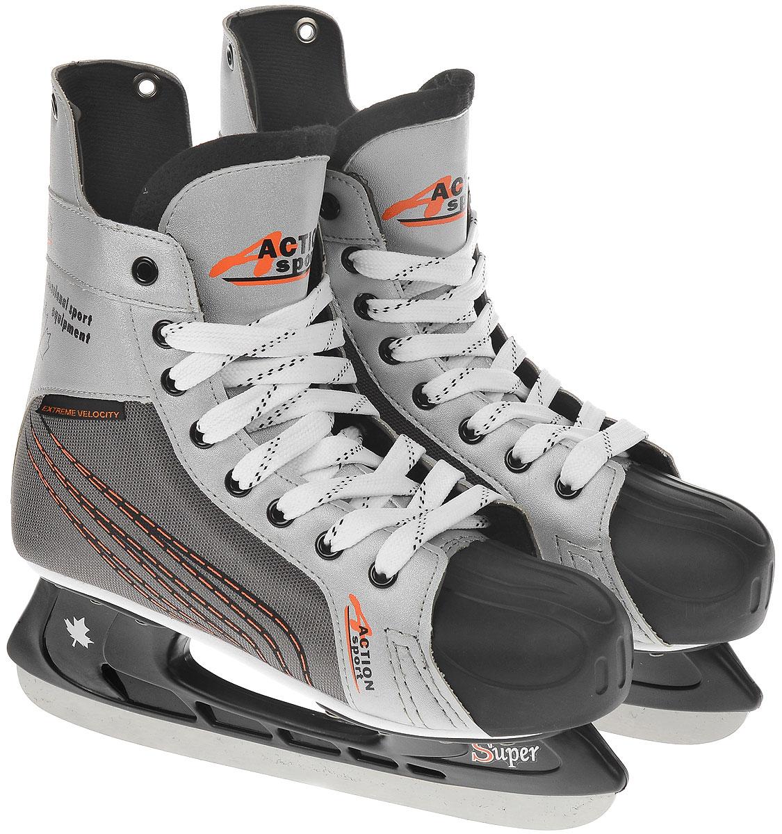 Коньки хоккейные мужские Action, цвет: белый, серый. PW-216N. Размер 38