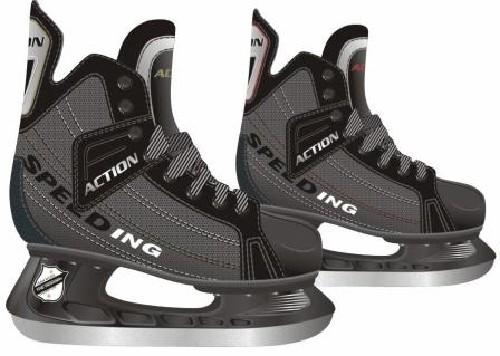 Коньки хоккейные Action, цвет: серый. PW-216DN. Размер 37