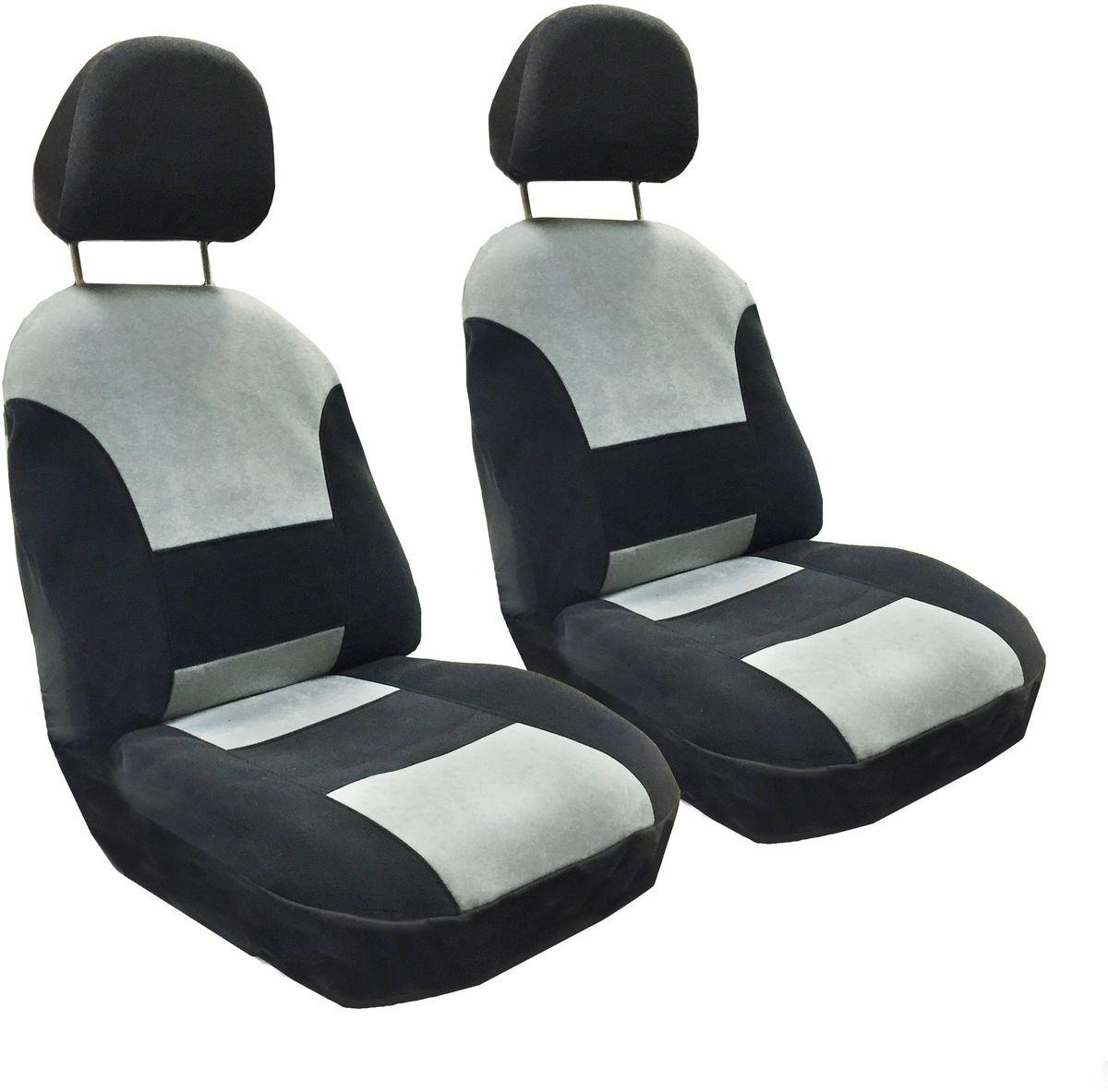 Набор автомобильных чехлов Auto Premium Флагман, цвет: черный, серый, 4 предмета57101Комлект универсальных чехлов на передние сиденья выполнен из велюра, предназначен для передних кресел автомобиля. На задней спинке чехла расположен вшивной карман. В комплект входят съемные чехлы для подголовников .Практичный и долговечный комплект чехлов для передних сидений надежно защищает сиденье водителя и пассажира от механических повреждений, загрязнений и износа.