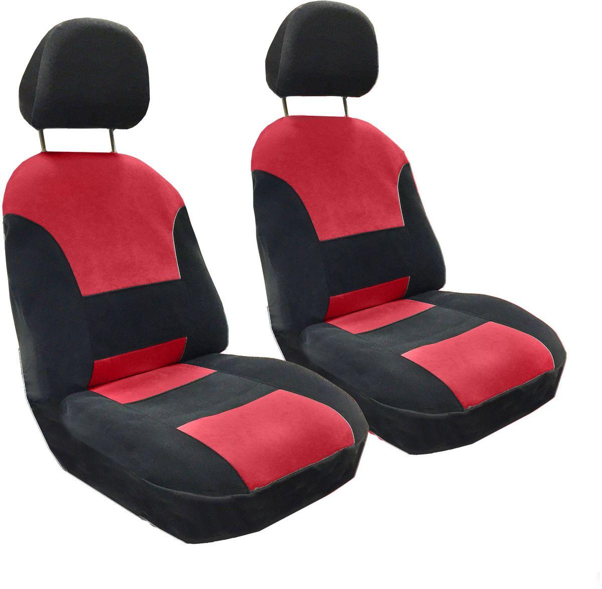 Набор автомобильных чехлов Auto Premium Флагман, цвет: черный, красный, 4 предмета57103Комлект универсальных чехлов на передние сиденья выполнен из велюра, предназначен для передних кресел автомобиля. На задней спинке чехла расположен вшивной карман. В комплект входят съемные чехлы для подголовников .Практичный и долговечный комплект чехлов для передних сидений надежно защищает сиденье водителя и пассажира от механических повреждений, загрязнений и износа.