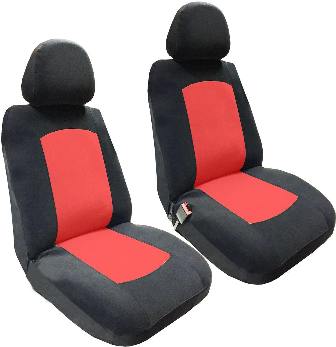 Набор автомобильных чехлов Auto Premium Фрегат, цвет: черный, красный, 4 предмета57203Комлект универсальных чехлов на передние сиденья выполнен из велюра, предназначен для передних кресел автомобиля. На задней спинке чехла расположен вшивной карман. В комплект входят съемные чехлы для подголовников .Практичный и долговечный комплект чехлов для передних сидений надежно защищает сиденье водителя и пассажира от механических повреждений, загрязнений и износа.