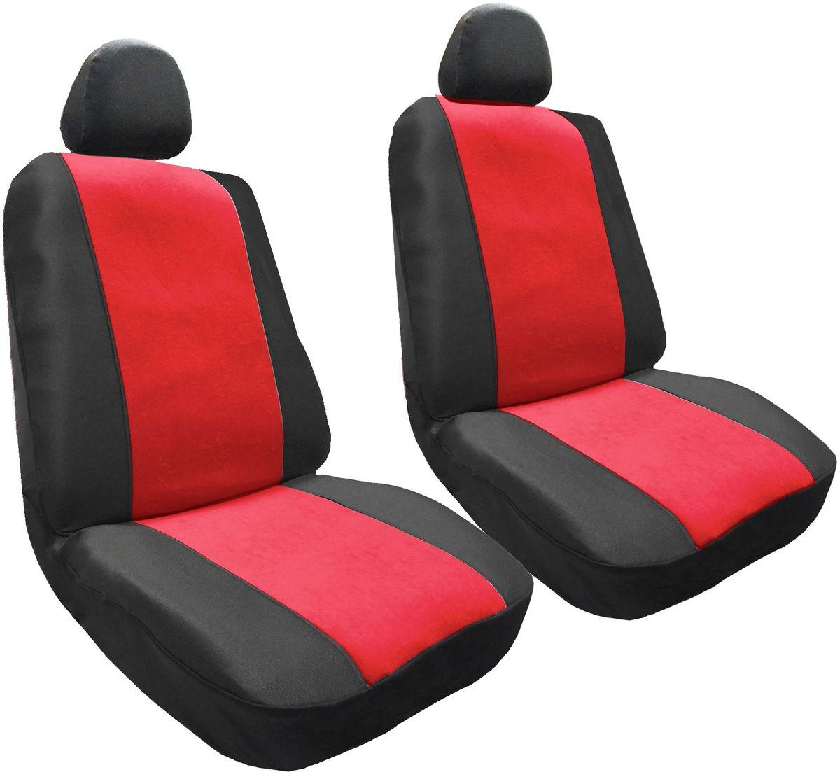 Набор автомобильных чехлов Auto Premium Корвет, цвет: черный, красный, 4 предмета57303Комлект универсальных чехлов на передние сиденья выполнен из велюра, предназначен для передних кресел автомобиля. В комплект входят съемные чехлы для подголовников .Практичный и долговечный комплект чехлов для передних сидений надежно защищает сиденье водителя и пассажира от механических повреждений, загрязнений и износа.