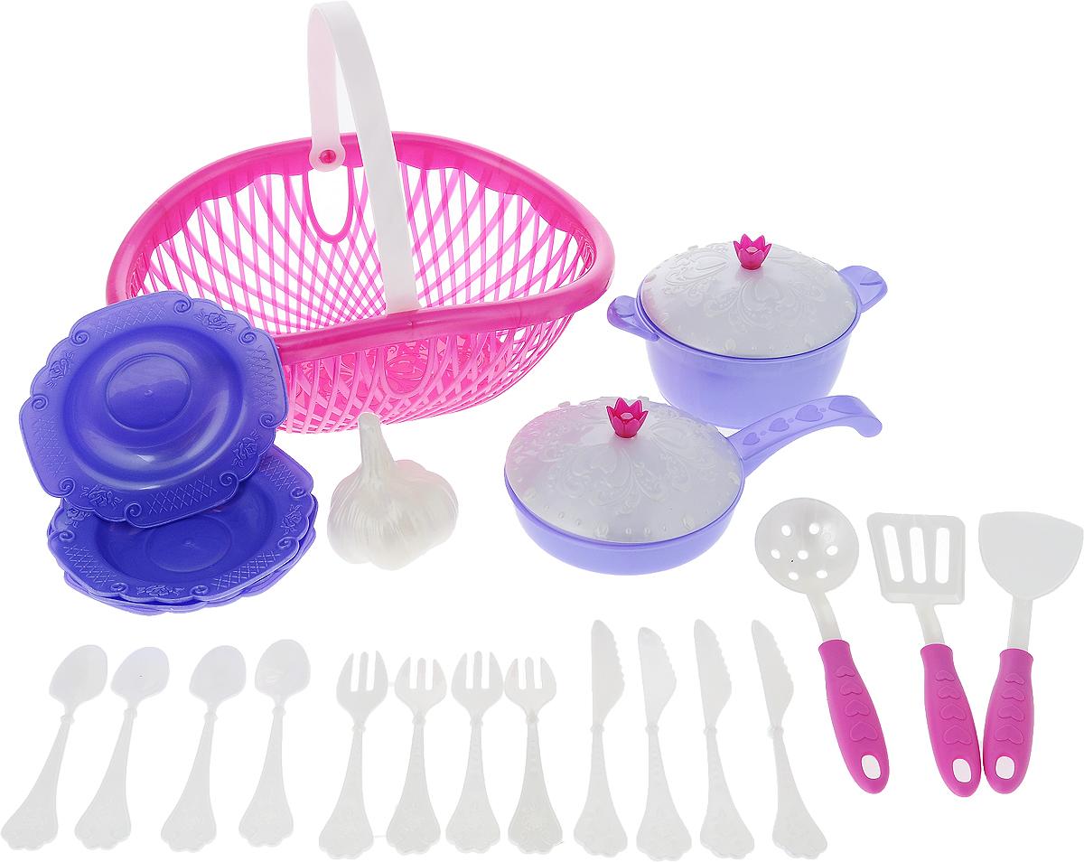 Нордпласт Игрушечный набор посуды Кухонный сервиз Волшебная хозяюшка цвет сиреневый фиолетовыйН-626_сиреневый, фиолетовыйИгрушечный набор посуды Нордпласт Кухонный сервиз. Волшебная хозяюшка - это игрушечные кухонные принадлежности, которые дополнят и разнообразят игры ребенка. С таким набором все игрушки всегда будут сыты, а резные тарелочки и крышечки приведут в восторг любую маленькую хозяюшку. С набором посуды малышка сможет устроить вкусный обед для себя и своих игрушек. Все предметы изготовлены из высокопрочного и качественного пластика. Предметы находятся в практичном лукошке с удобной ручкой для переноски. Такой набор станет великолепным подарком для вашей юной хозяйки.