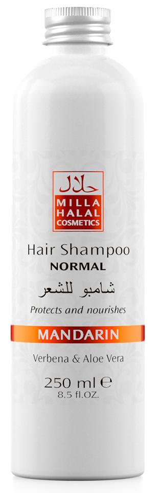 Milla Halal Cosmetics Шампунь для нормальных волос с экстрактами вербены и алоэ вера MILLA MANDARIN, 250МЛ10763100% натуральный продукт. Шампунь быстро и эффективно очищает волосы, стимулирует их рост. Входящий в состав шампуня экстракт листьев и цветов Вербены лекарственной, способствует заживлению ранок кожи головы. Экстракт листьев Алоэ Вера способствует быстрой регенерации клеток кожи.