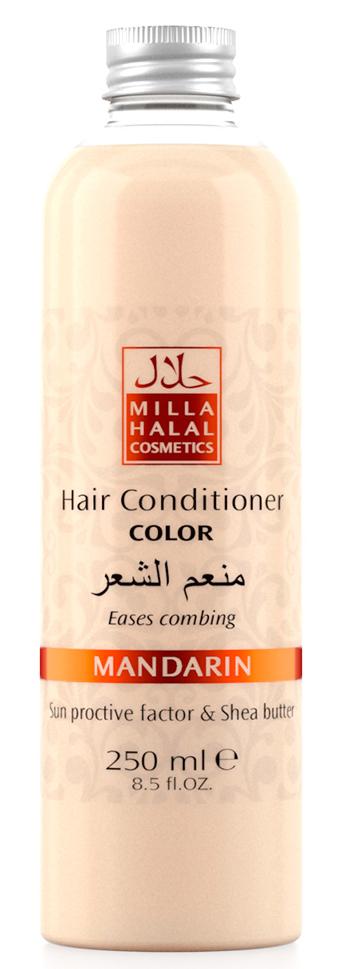 Milla Halal Cosmetics Кондиционер для окрашенных волос с маслом ши (карите) и защитным УФ-фактором MILLA MANDARIN, 250МЛ10769100% натуральный продукт. Кондиционер для окрашенных волос с маслом Ши (Карите) и эфирным маслом Мандарина превосходно питает и защищает тон окрашенных волос. Солнцезащитный компонент, присутствующий в масле ши, защищает волосы от негативного воздействия окружающей среды. Кондиционер не утяжеляет волосы и значительно облегчает их расчесывание.