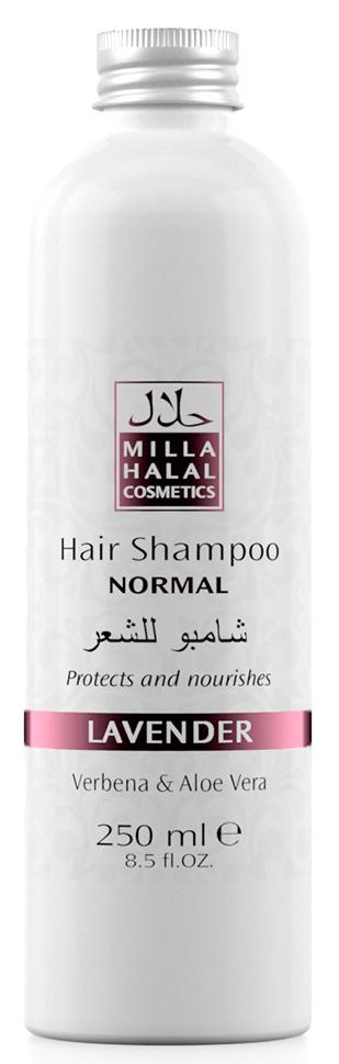Milla Halal Cosmetics Шампунь для нормальных волос с экстрактами вербены и алоэ вера MILLA LAVANDER, 250МЛ10972100% натуральный продукт. Шампунь быстро и эффективно очищает волосы, стимулирует их рост. Входящий в состав шампуня экстракт листьев и цветов Вербены лекарственной, способствует заживлению ранок кожи головы. Экстракт листьев Алоэ Вера способствует быстрой регенерации клеток кожи.