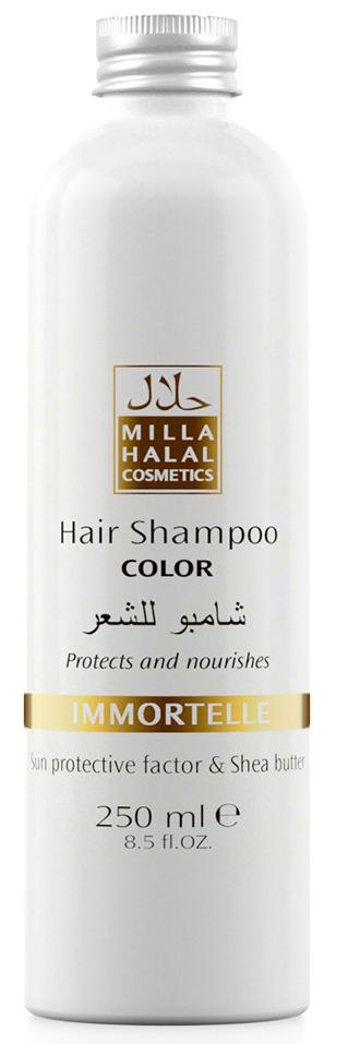 Milla Halal Cosmetics Шампунь для окрашенных волос с маслом ши (карите) и защитным УФ-фактором MILLA IMMORTELLE, 250МЛ10975100% натуральный продукт. Шампунь с маслом Ши (Карите) и эфирным маслом Бессмертника итальянского укрепляет волосы, защищает цвет окрашенных волос. После применения шампуня волосы выглядят как свежеокрашенные, имеют нужный тон, становятся блестящими и шелковистыми. Специальная формула шампуня защищает и питает волосы. Солнцезащитный компонент, присутствующий в масле ши, защищает волосы от негативного воздействия окружающей среды, а также способствует устойчивости тона окрашенных волос.
