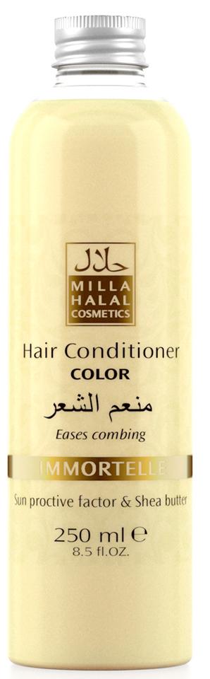 Milla Halal Cosmetics Кондиционер для окрашенных волос с маслом Ши (карите) и защитным УФ-фактором MILLA «IMMORTELLE», 250МЛ10979100% натуральный продукт. Кондиционер для окрашенных волос с маслом Ши (Карите) и эфирным маслом Бессмертника итальянского превосходно питает и защищает тон окрашенных волос. Солнцезащитный компонент, присутствующий в масле ши, защищает волосы от негативного воздействия окружающей среды. Кондиционер не утяжеляет волосы и значительно облегчает их расчесывание.