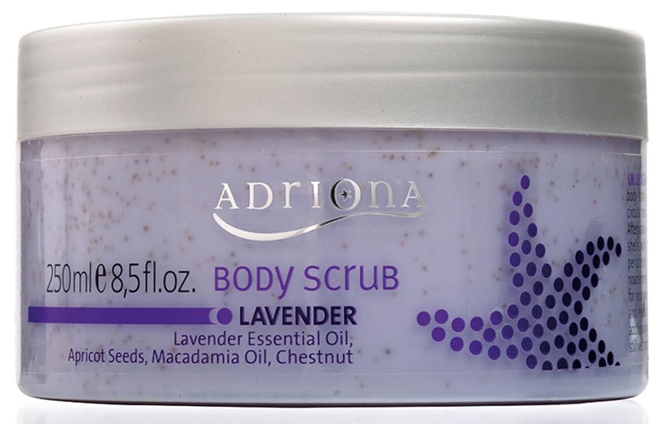 Adriona Скраб для тела Лаванда , 250МЛ9253100% натуральный продукт. Скраб для тела «Лаванда» оказывает очищающее воздействие на кожу, активизирует циркуляцию крови, препятствует формированию целлюлита. Скраб для тела деликатно удаляет ороговевшие клетки кожи. После применения скраба для тела, кожа становится гладкой и эластичной.