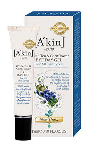Akin Гель дневной Белый чай и василек для области вокруг глаз, успокаивающий и расслабляющий, 15 мл1110002Быстро впитывающийся легкий гель Akin Белый чай и василек с мощными антиоксидантами в составе помогает быстро и эффективно успокоить кожу вокруг глаз, уменьшить отечность и темные круги. Идеален в качестве основы под макияж. Подходит для всех типов кожи, включая очень чувствительную. Легкая, но обогащенная биологически активными компонентами формула геля стимулирует микроциркуляцию, оказывает расслабляющее действие. Уменьшаются отечность, темные круги и морщины.