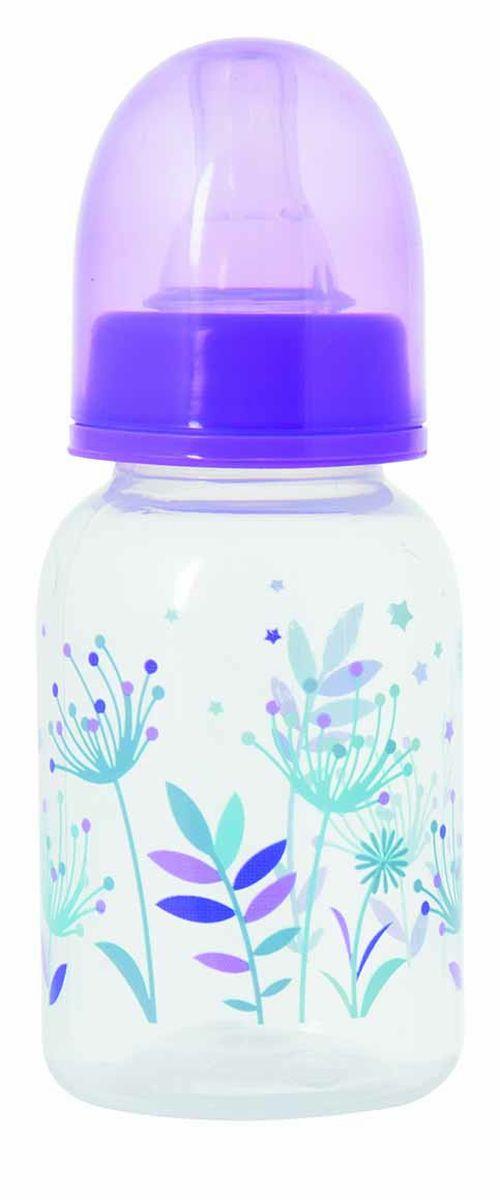 Мир Детства Бутылочка для кормления Травы с силиконовой соской ортодонтической формы цвет фиолетовый 125 мл