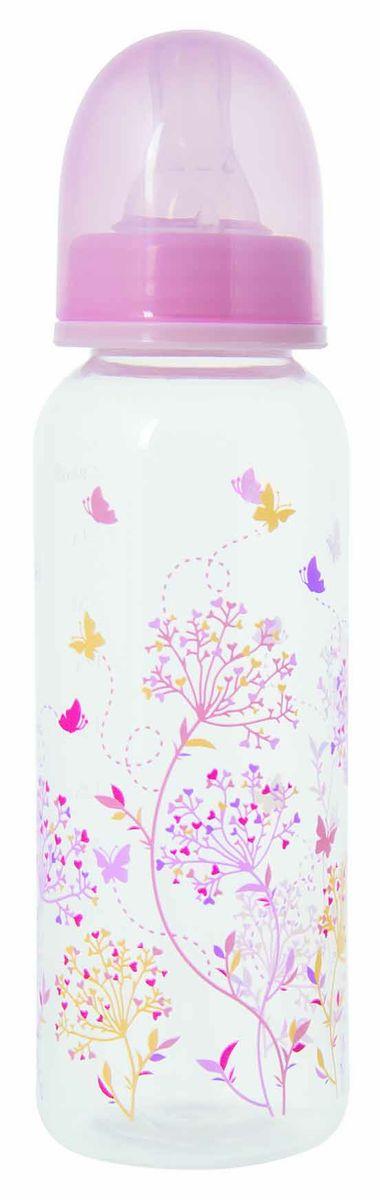Мир Детства Бутылочка для кормления Травы с силиконовой соской ортодонтической формы цвет розовый 250 мл