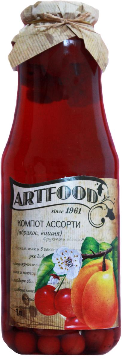 Artfood компот ассорти, 1 л13001110200003Компот обладает множеством полезных свойств в сравнении с другими жидкостями. В отличие от воды в нём содержатся витамины. От соков компот отличается тем, что не содержит такого обильного количества кислот, которые могут негативно повлиять на желудок