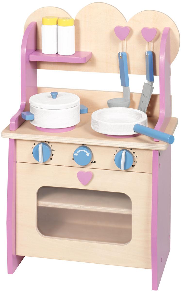 Goki Игрушечная кухня с аксессуарами 7 предметов51822Модная небольшая кухня Goki для маленьких гурманов! Деревянная кухонная плита для детей с открывающейся духовкой, противнями и посудой. Кухня включает в себя сковороду, кастрюлю с крышкой, ковш, шпатель, солонку и перечницу. Размер плиты: 35,5 см х 20,5 см х 54 см.