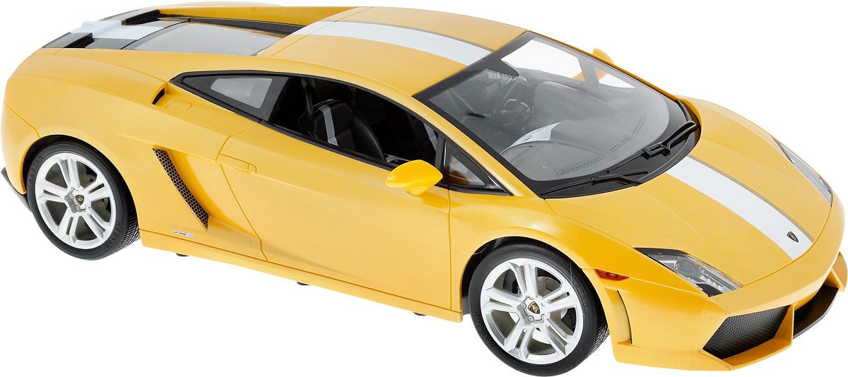 Rastar Радиоуправляемая модель Lamborghini Gallardo LP550-2 цвет желтый52500_желтыйРадиоуправляемая модель Rastar Lamborghini Gallardo LP550-2, выполненная из прочного пластика с металлическими элементами, является уменьшенной копией настоящего автомобиля в масштабе 1/10. Машина при помощи пульта управления движется вперед-назад, направо-налево. Автомобиль обладает высокой стабильностью движения, что позволяет полностью контролировать его процесс, управляя уверенно и без суеты. А серьезные габариты придают реалистичность в управлении. Модель оснащена световыми эффектами. Такая машина станет отличным подарком не только автолюбителю, но и человеку, ценящему оригинальность и изысканность. Подарите своему ребенку возможность почувствовать себя настоящим водителем. Машина работает от сменного аккумулятора (входит в комплект), зарядка которого происходит при помощи зарядного устройства (в комплекте). Пульт управления работает от батарейки 9V типа Крона (не входит в комплект). Пульт управления работает на частоте 40 MHz.