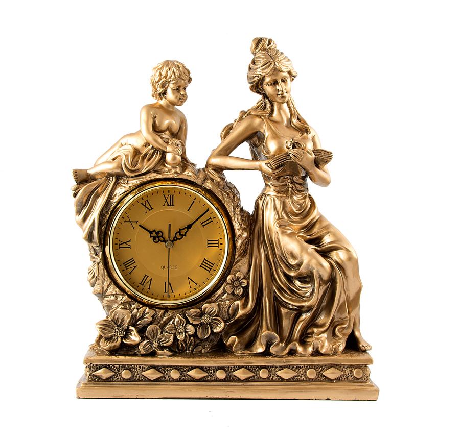 Часы настольные Русские Подарки Девушка, 37 х 16 х 43 см. 5937459374Настольные кварцевые часы Русские Подарки Девушка изготовлены из полистоуна, циферблат защищен стеклом. Часы имеют три стрелки - часовую, минутную и секундную. Изящные часы красиво и оригинально оформят интерьер дома или рабочий стол в офисе. Также часы могут стать уникальным, полезным подарком для родственников, коллег, знакомых и близких. Часы работают от батареек типа АА (в комплект не входят).