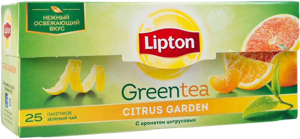 Lipton Зеленый чай Citrus Garden 25 шт21075217Молодые чайные листочки, выращенные под теплыми лучами солнца, дарят зеленому чаю Lipton Citrus Garden нежный вкус, дополненный ярким свежим ароматом грейпфрута, апельсина и мандарина, чтобы Вы могли насладиться любимым чаем в каждой чашке. Откройте яркий вкус цитрусовых ноток в изысканном букете зеленого чая Lipton!