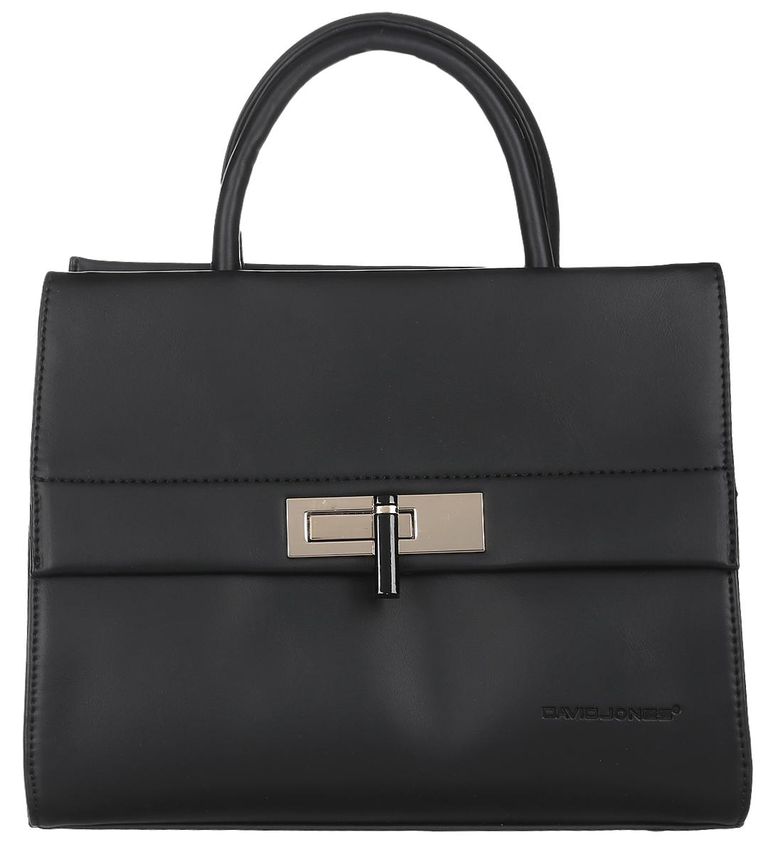 Сумка женская David Jones, цвет: черный. 5280-25280-2 BLACKСтильная женская сумка David Jones выполнена из искусственной кожи и текстиля. Изделие имеет одно основное отделение, которое закрывается на застежку-молнию. Внутри находятся прорезной карман на застежке-молнии и два накладных открытых кармана. Снаружи, на передней стенке расположен накладной карман, закрывающийся на клапан с поворотным замком, на задней стенке - прорезной карман на застежке-молнии. Изделие оснащено двумя удобными ручками. В комплект входит съемный регулируемый наплечный ремень. Основание изделия защищено от повреждений металлическими ножками. Роскошная сумка внесет элегантные нотки в ваш образ и подчеркнет ваше отменное чувство стиля.