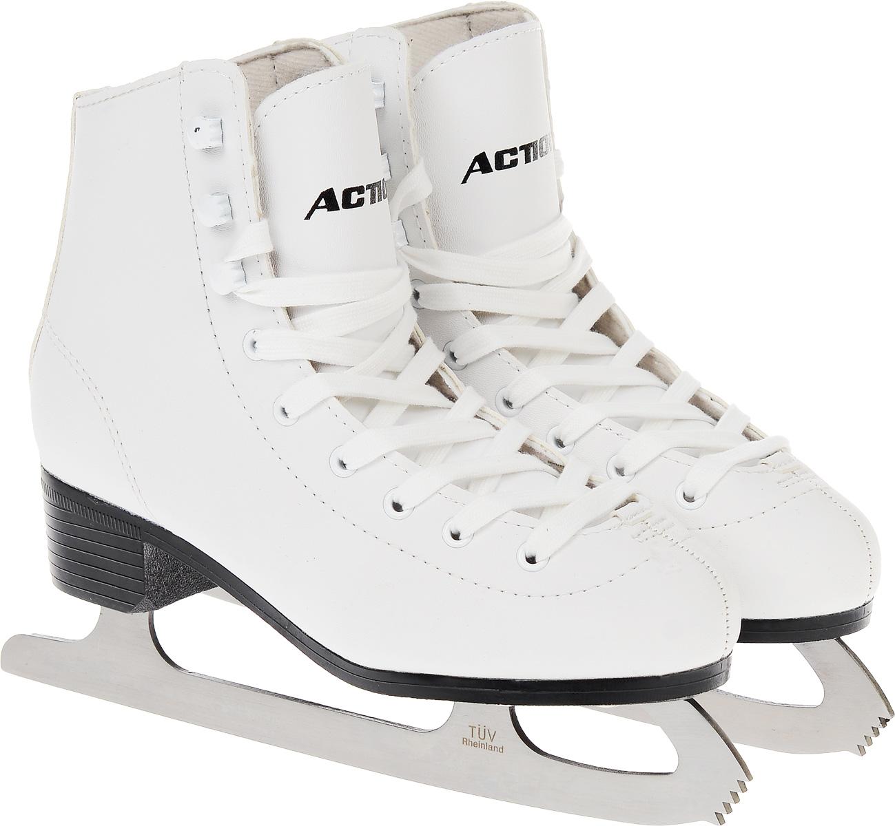 Коньки фигурные женские Action Sporting Goods, цвет: белый. PW-215. Размер 39PW-215_белый_39Высокий классический ботинок идеально подойдет для любительского катания. Модель снабжена системой быстрой шнуровки и поддержкой голеностопа. Верх ботинка выполнен из высококачественной искусственной кожи, подошва - твердый пластик. Лезвие изготовлено из нержавеющей стали со специальным покрытием, придающим дополнительную прочность.
