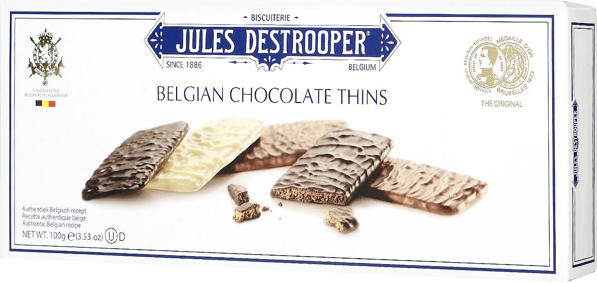 Destrooper Ассорти печенье в шоколаде, 100 гК13090Печенье в шоколаде Destrooper Ассорти - хрустящие и тонкие печенья, обильно покрытые тремя сортами настоящего бельгийского шоколада (темным, белым и молочным). Уважаемые клиенты! Обращаем ваше внимание, что полный перечень состава продукта представлен на дополнительном изображении.