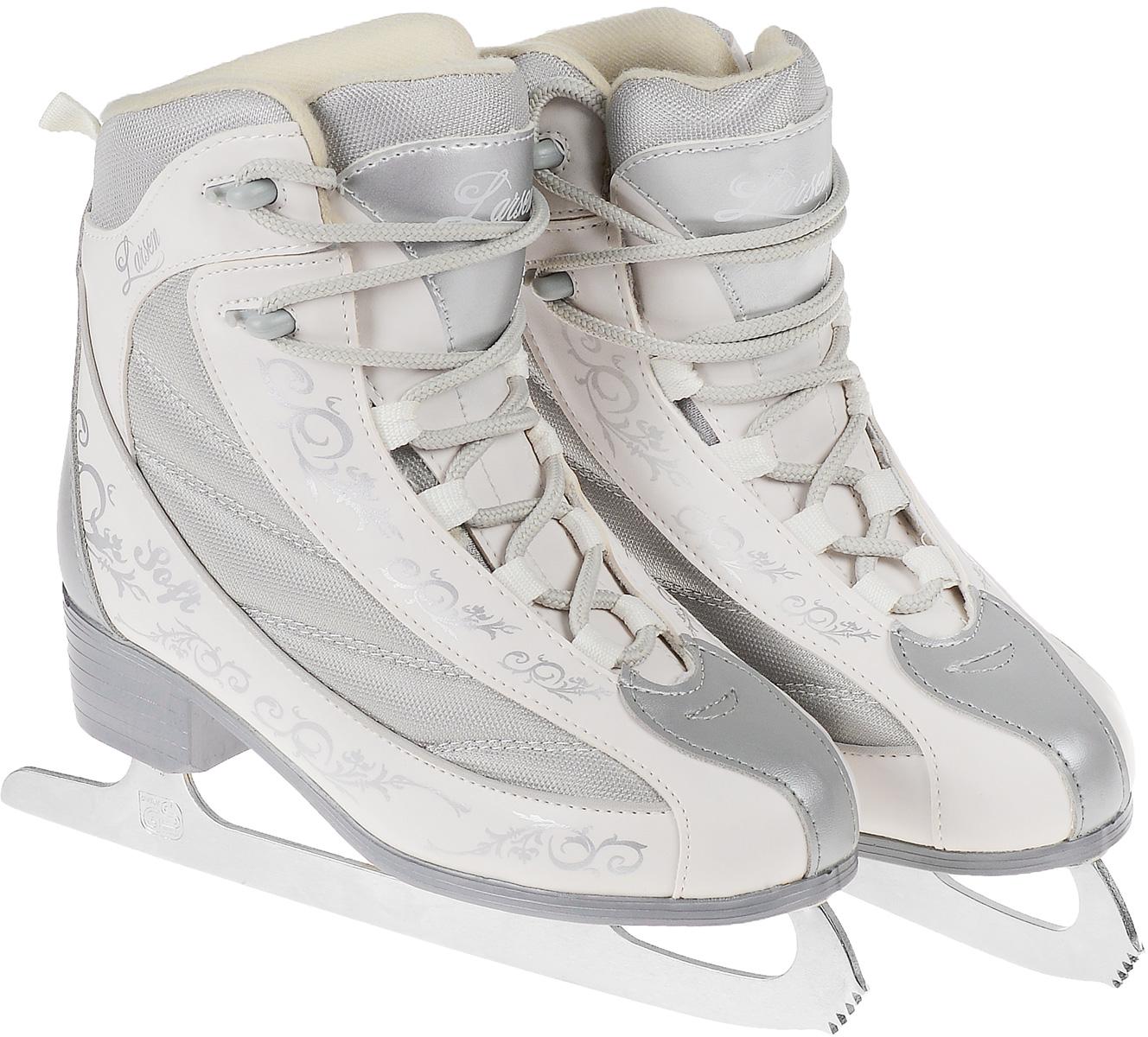 Коньки фигурные женские Larsen Soft, цвет: белый, серый. Размер 37