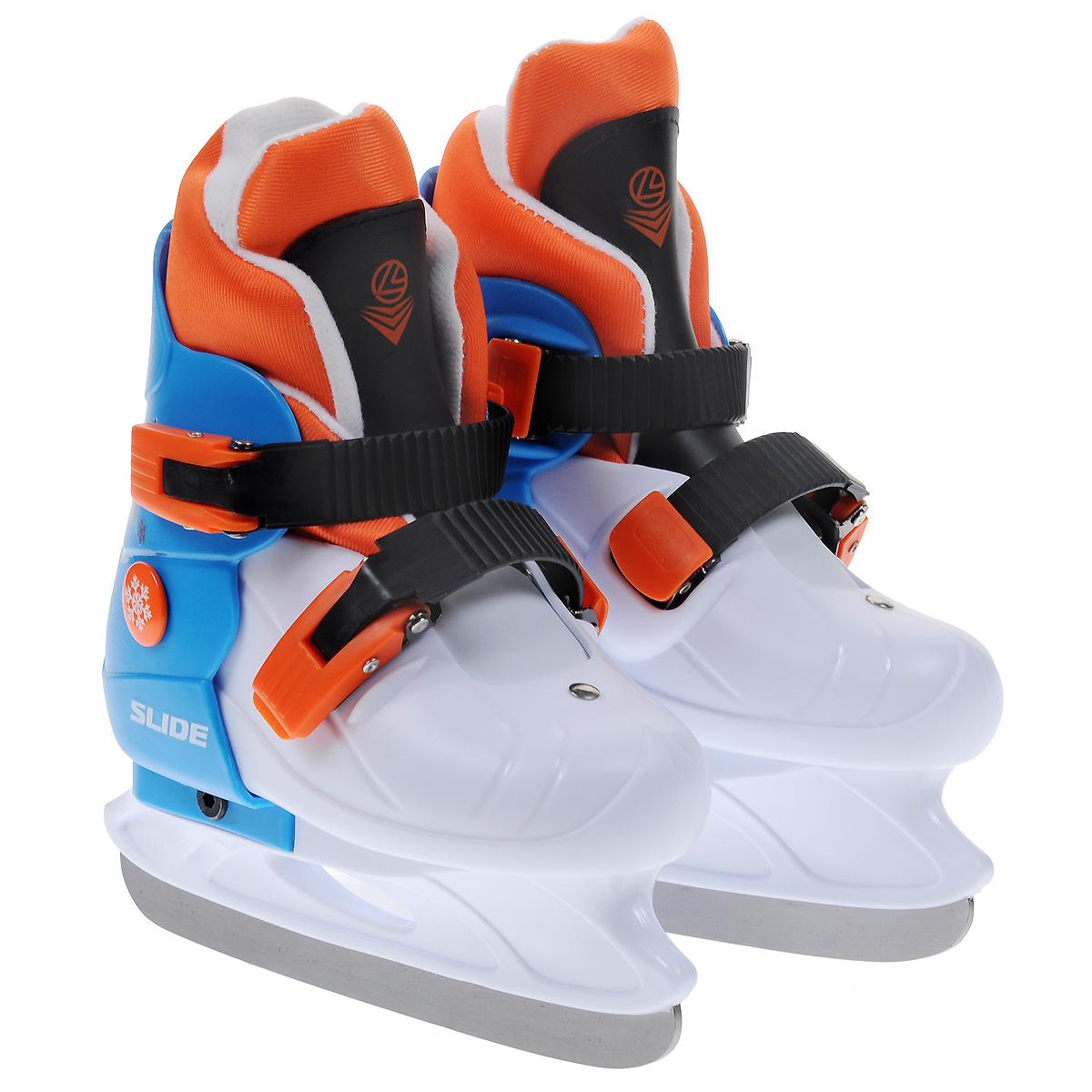 Коньки ледовые детские Larsen Slide, раздвижные, цвет: белый, голубой, оранжевый. Размер S (29/32)SlideДетские ледовые коньки Slide от Larsen отлично подойдут для начинающих обучаться катанию. Ботинки изготовлены из морозостойкого полипропилена, который защитит ноги от ударов. Пластиковые регулируемые бакли надежно фиксируют голеностоп. Внутренний сапожок выполнен из мягкого текстильного материала с поролоновой вставкой, который обеспечит тепло и комфорт во время катания. Лезвие выполнено из нержавеющей стали. Особенностью коньков является раздвижная конструкция, которая позволяет увеличивать размер ботинка по мере роста ноги ребенка. У сапожка пяточная часть крепится при помощи липучек, что также позволит увеличить размер. Температура использования: до -20°С.