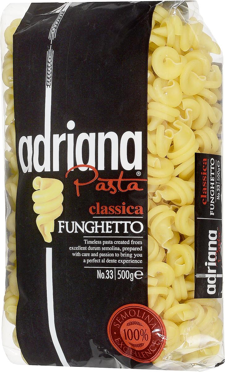 Adriana Funghetto паста, 500 г15022Adriana - высококачественная паста из 100% семолины. Только 100% семолина или качественная мука из специальных твердых сортов пшеницы гарантирует, что паста, даже после превышения рекомендуемого времени приготовления, не разварится и не слипнется после охлаждения. Элегантная и специальная форма захватывает соус в свою нисходящую спираль, что придает сочность. Лучше всего подходит к сливочному соусу, с которым создает заманчивое блюдо. Однако подходит и к соусу с мясом или рыбой.