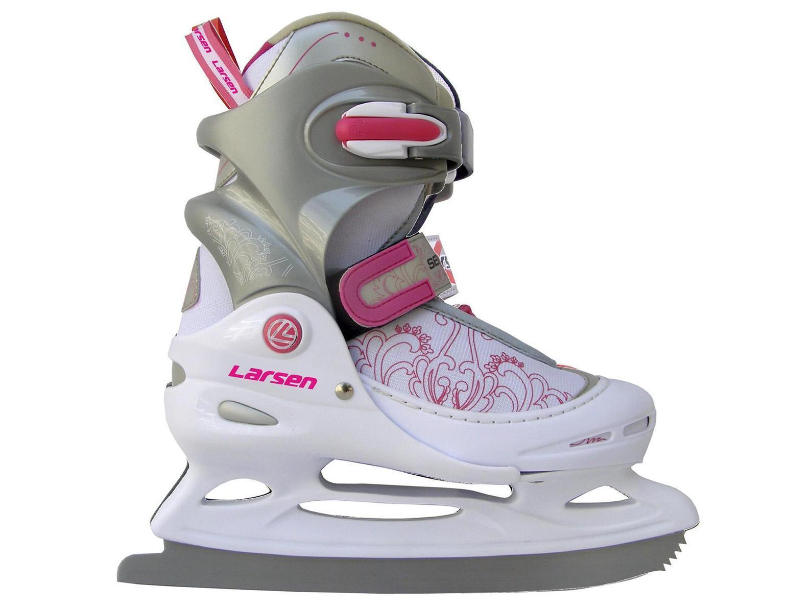 Коньки ледовые детские Larsen, раздвижные, цвет: серый, розовый, белый. Liberty 2014-2015. Размер 30/33Larsen Liberty 2014-2015 White-Grey-PinkПрогулочные коньки для свободного катания на льду. В коньках используются морозоустойчивые материалы повышенной прочности.