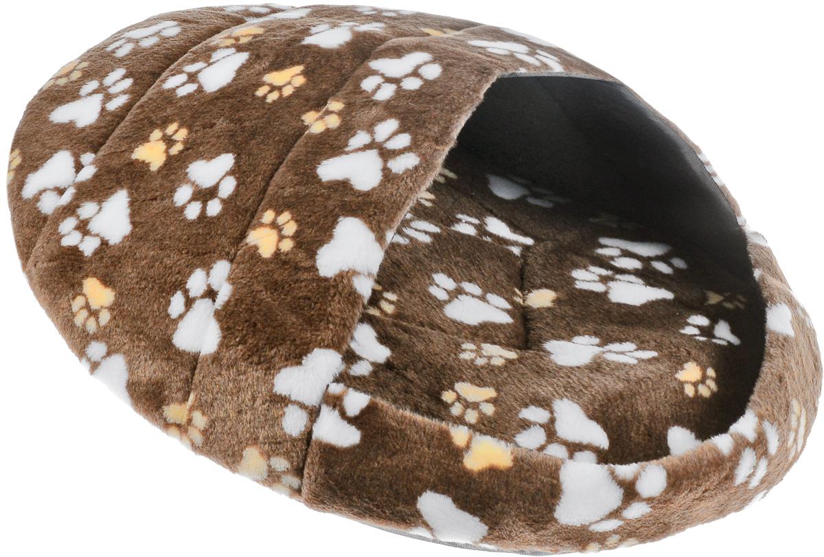 Лежак для животных Elite Valley Тапок, цвет: коричневый, бежевый, белый, 66 х 53 х 30 смЛ-29/4_коричневый, бежевый, белыйЛежак Elite Valley Тапок непременно станет любимым местом отдыха вашего домашнего животного. Изделие выполнено из искусственного меха, текстиля и нетканого материала, а наполнитель - из поролона. Такой материал не теряет своей формы долгое время. Внутри имеется мягкая съемная подстилка. На таком лежаке вашему любимцу будет мягко и тепло. Он подарит вашему питомцу ощущение уюта и уединенности, а также возможность спрятаться.
