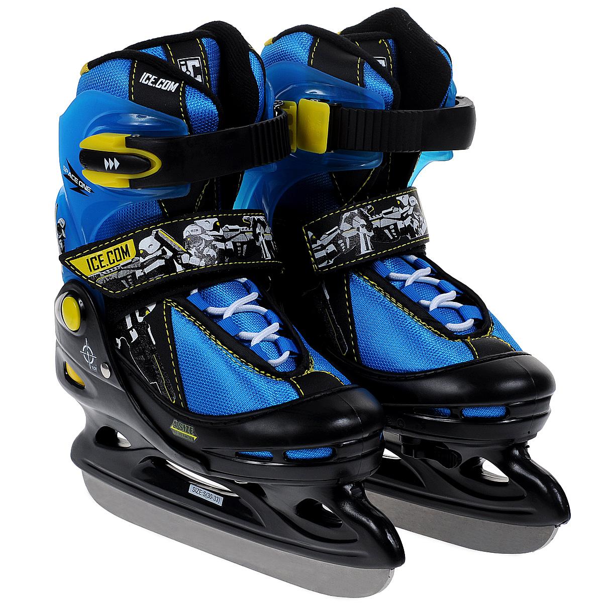 Коньки ледовые для мальчика Ice. Com Space, раздвижные, цвет: черный, синий. Размер 30/33SpaceЯркие ледовые коньки для мальчика Space от Ice. Com отлично подойдут для начинающих обучаться катанию. Ботинок Comfortable Fit очень хорошо держит ногу и при этом, позволит чувствовать удобство во время катания. Он изготовлен из морозостойкого пластика, который защитит ногу от ударов, и прочного нейлона со вставками из ПВХ и поролоновым утеплителем. Четкую фиксацию голени обеспечивают шнуровка Quick Lace, застежка на липучке Velcro и застежка с фиксатором Power Strap. Стальное хоккейное лезвие обеспечит превосходное скольжение. Особенностью коньков является раздвижная конструкция, которая позволяет увеличивать длину ботинка на 4 размера по мере роста ноги ребенка. Для того, чтобы Вам максимально точно подобрать размер коньков, узнайте длину стопы с точностью до миллиметра. Для этого поставьте босую ногу на лист бумаги А4 и отметьте на бумаге самые крайние точки Вашей стопы (пятка и носок). Затем измерьте обычной линейкой расстояние (до миллиметра) между этими...
