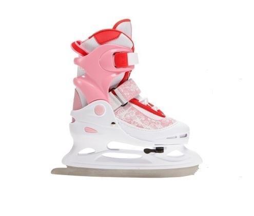 Коньки ледовые для девочки Ice.Com Lina 2014-2015, раздвижные, цвет: розовый, красный, белый. Размер 34/37Lina 2014-2015Ботинок COMFORTABLE FIT очень хорошо держит ногу и при этом, позволит чувствовать удобство во время катания. Стальное фигурное лезвие обеспечит превосходное скольжение. Четкую фиксацию голени обеспечивают шнуровка Quick Lace, застежка на липучке Velcro, застежка с фиксатором Power Strap. Подошва - морозостойкий ПВХ. Теперь вам не придется покупать ребенку новые коньки каждый год, - предусматривается возможность изменения длины ботинка на 4 размера. Для того, чтобы Вам максимально точно подобрать размер коньков, узнайте длину стопы с точностью до миллиметра. Для этого поставьте босую ногу на лист бумаги А4 и отметьте на бумаге самые крайние точки Вашей стопы (пятка и носок). Затем измерьте обычной линейкой расстояние (до миллиметра) между этими отметками на бумаге. Не забудьте учесть 2-3 мм запаса под носок.