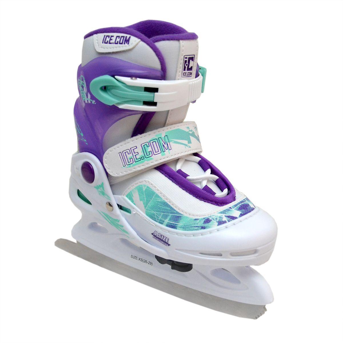Коньки ледовые для девочки Ice. Com Estel, раздвижные, цвет: белый, фиолетовый, бирюзовый. Размер 26/29EstelЯркие ледовые коньки для девочки Estel от Ice. Com отлично подойдут для начинающих обучаться катанию. Ботинок Comfortable Fit крепко охватывает ногу, оставаясь удобным для катания. Он изготовлен из морозостойкого пластика, который защитит ногу от ударов, и прочного нейлона со вставками из ПВХ. Поролоновый утеплитель не позволит ногам замерзнуть. Четкую фиксацию голени обеспечивают шнуровка Quick Lace, застежка на липучке Velcro и застежка с фиксатором Power Strap. Стальное фигурное лезвие обеспечит превосходное скольжение. Особенностью коньков является раздвижная конструкция, которая позволяет увеличивать длину ботинка на 4 размера по мере роста ноги ребенка. Размер регулируется при помощи рычажка. Оформлена модель оригинальными узорами и тиснениями в виде логотипа бренда на пятке, язычке и застежке. Чтобы максимально точно подобрать размер коньков, определите длину своей стопы с точностью до миллиметра. Для этого поставьте босую ...