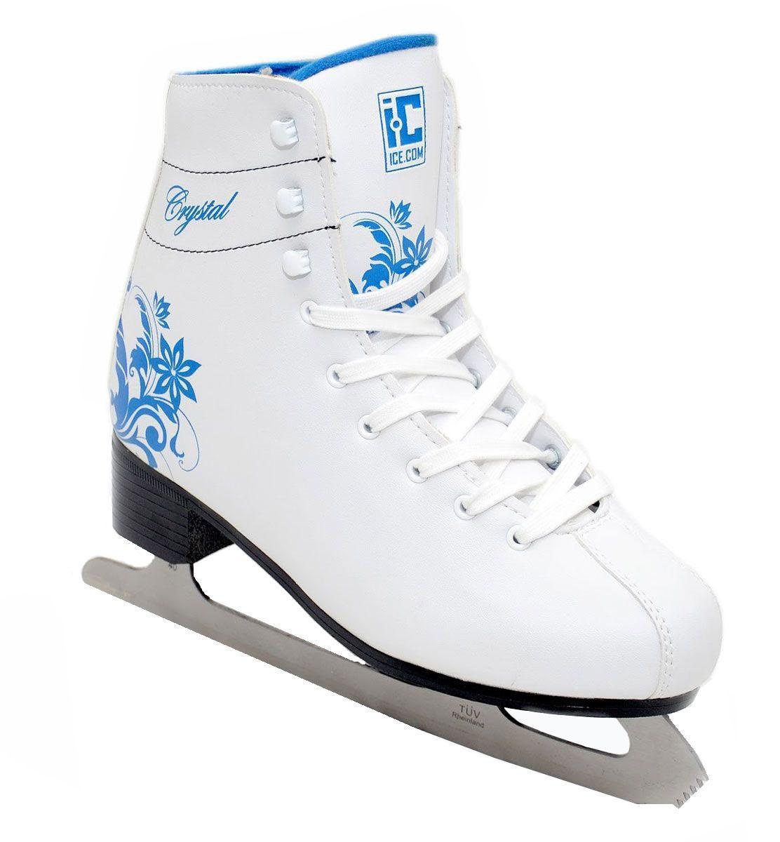 Коньки фигурные детские Ice.Com Crystal 2014-2015, цвет: синий, белый. Размер 34Crystal 2014-2015Высокий классический ботинок идеально подойдет для начинающих. Конструкция ботинка разработана специально с учетом того что нога при катании должна находиться в полусогнутом состоянии и голень имеет небольшой наклон вперед. Верх ботинка выполнен из морозостойкой искусственной кожи, подошва - морозостойкий ПВХ. Стальное никелированное высокопрочное лезвие, сертифицировано TUV. Для того, чтобы Вам максимально точно подобрать размер коньков, узнайте длину стопы с точностью до миллиметра. Для этого поставьте босую ногу на лист бумаги А4 и отметьте на бумаге самые крайние точки Вашей стопы (пятка и носок). Затем измерьте обычной линейкой расстояние (до миллиметра) между этими отметками на бумаге. Не забудьте учесть 2-3 мм запаса под носок.