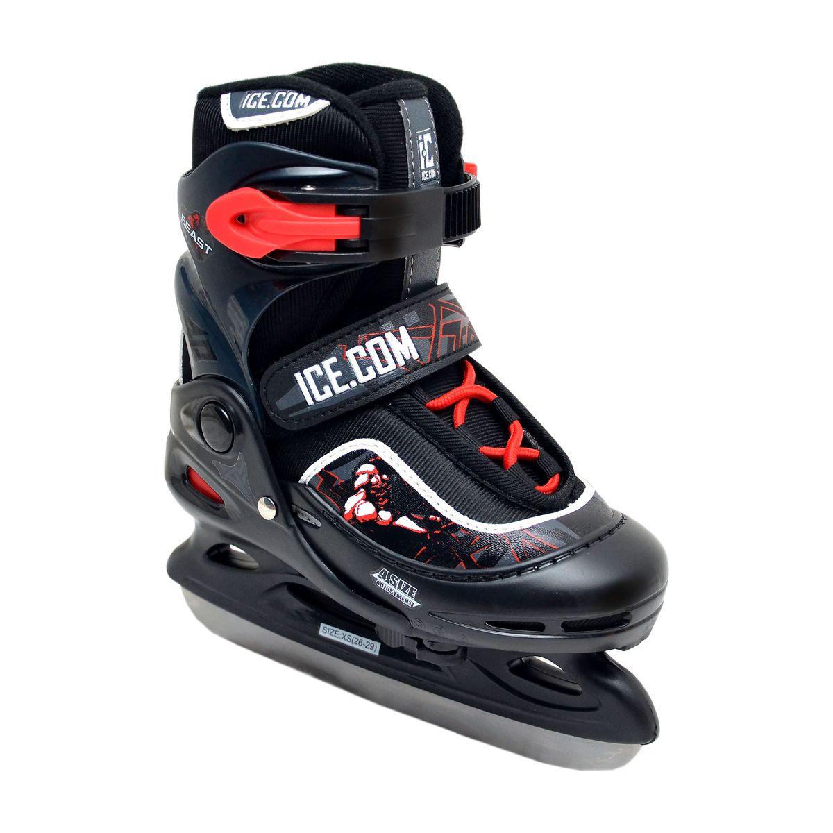 Коньки ледовые для мальчика Ice.Com Beast, раздвижные, цвет: черный, красный. Размер 26/29BeastОригинальные раздвижные ледовые коньки для мальчика Ice.Com Beast с ударопрочной защитной конструкцией отлично подойдут для начинающих обучаться катанию. Ботинки Comfortable Fit изготовлены из морозостойкого пластика, который защитит ноги от ударов. Пластиковая бакля с фиксатором Power Strap, хлястик на липучке Velcro и шнуровка Quick Lace надежно фиксируют голеностоп. Внутренний сапожок, выполненный из мягкого вельвета, гарантирует тепло во время катания, а текстильная стелька - обеспечит уют. Изделие по верху декорировано оригинальными изображениями, принтом и тиснением в виде логотипа бренда. Фигурное лезвие изготовлено из нержавеющей стали со специальным покрытием, придающим дополнительную прочность. Особенностью коньков является раздвижная конструкция, которая позволяет увеличивать длину ботинка на 4 размера по мере роста ноги ребенка. У сапожка с боку имеется специальный фиксатор, который позволит увеличить его размер. Стильные коньки придутся по душе вашему...