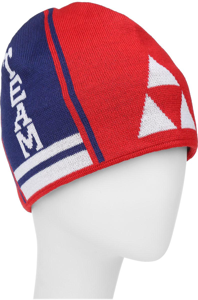 Шапочка лыжная Fischer Team, цвет: красный, синий, белыйG90515-R/WВязаная лыжная шапочка Fischer Team выполнена на 50% из натуральной шерсти и на 50% из высококачественного акрила. Шапочка украшена полосами и логотипом фирмы по бокам. Шерсть, входящая в состав шапки, делает ее теплой и приятной на ощупь, а акрил придает изделию прочность и износостойкость. Внутри флисовая подкладка. Высота шапочки: 21 см. Обхват головы: 48 см.