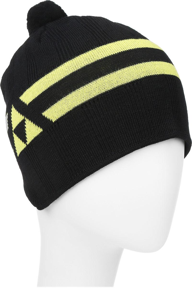 Шапочка лыжная Fischer Polar, цвет: черный, желтый. Размер S/MG90614-BLKВязаная лыжная шапочка Fischer Polar выполнена на 50% из натуральной шерсти и на 50% из высококачественного акрила. Шапочка украшена 2 полосами, логотипом фирмы по бокам и небольшим помпоном. Шерсть, входящая в состав шапки, делает ее теплой и приятной на ощупь, а акрил придает изделию прочность и износостойкость. Рядом с помпоном имеется петелька для подвешивания. Высота шапочки: 20 см.