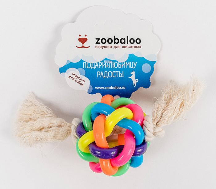Мяч витой большой для средних собак с х/б веревкой 20см421Весьма интересная и занимательная игрушка, выгодно отличающаяся от других необыкновенным сплетением разноцветных латексных колец, образующих мяч. Продетая внутри такого мяча веревка из хлопчатобумажной ткани длиной 20 см. с двумя узелками по краям дополняет изысканную композицию для вашего питомца. Без сомнений, с этой вещицей ваш любимец проведет не один час.
