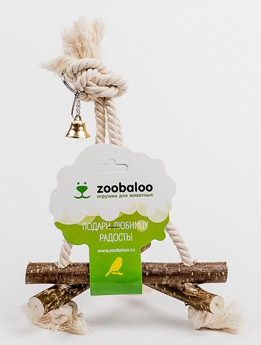 Игрушка для птиц Zoobaloo Качели средние539Игрушка Zoobaloo Качели средние - отличный аксессуар для клетки ваших пернатых друзей. Качели выполнены в виде деревянных жердочек из орешника, оборудованы маленьким колокольчиком и металлическим карабином для подвешивания к клетке. Чтобы обезопасить лапки пернатых любимцев, брусочки соединены хлопковой веревкой.