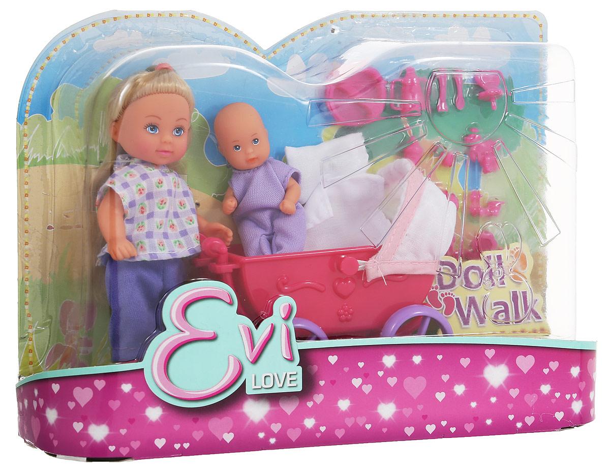 Simba Игровой набор с мини-куклой Еви в брюках с малышом цвет коляски красный5736241_розовая коляска, 105736241Игровой набор Simba Еви с малышом порадует любую девочку и надолго увлечет ее. Для прогулки со своим малышом у мини-куклы есть все необходимое: удобная коляска, одеяло, подушка, игрушки и погремушки. Еви очень любит гулять с младенцем. Она одета в синие брючки и светлую рубашку, на ножках - удобные розовые туфли. Руки, ноги и голова куклы подвижны, благодаря чему ей можно придавать разнообразные позы. Малыш одет в сиреневый комбинезон, он удобно устроился в большой коляске в окружении своих игрушек. Игры с куклами способствуют эмоциональному развитию, помогают формировать воображение и художественный вкус, а также разовьют в вашей малышке чувство ответственности и заботы. Великолепное качество исполнения делают эту куколку чудесным подарком к любому празднику.