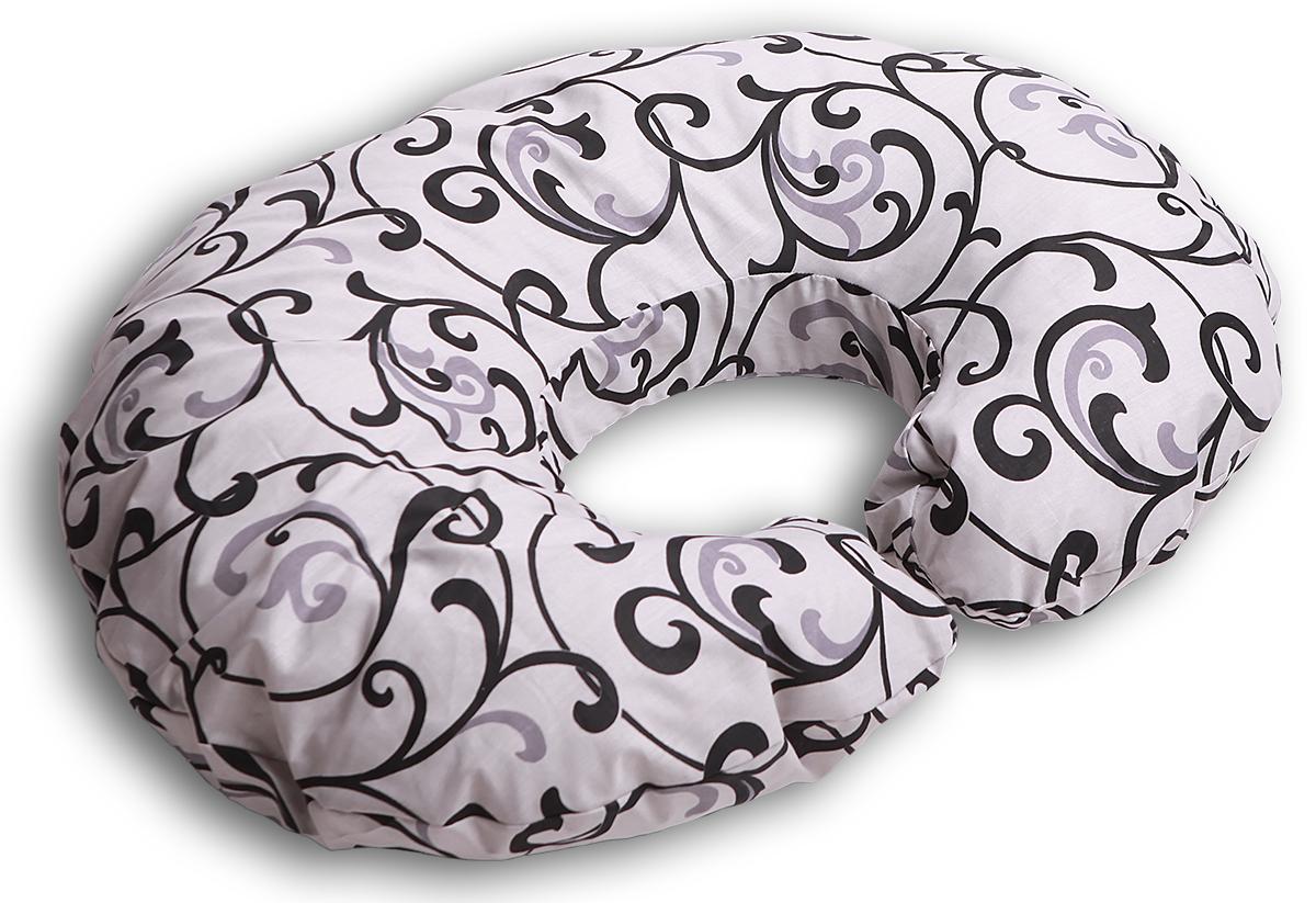 Body Pillow Подушка для беременных и кормящих Рогалик цвет белый черный