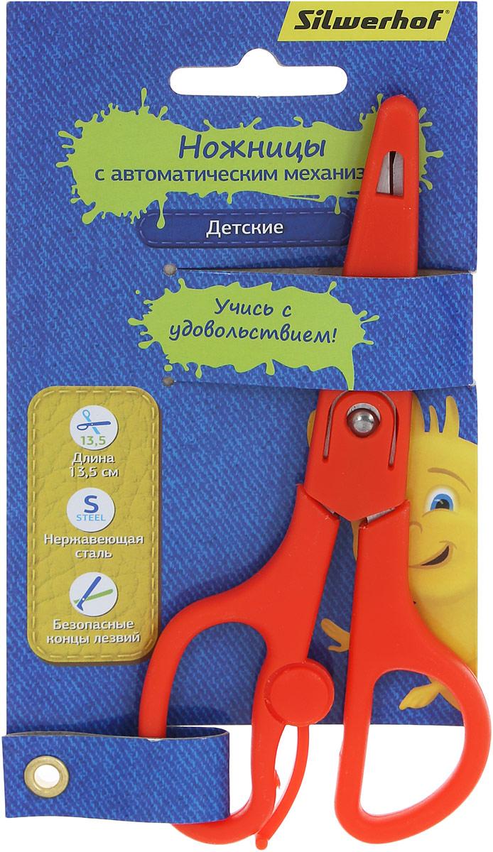 Silwerhof Ножницы детские Джинсовая коллекция цвет красный 13,5 см453084_красныйДетские ножницы Silwerhof Джинсовая коллекция прекрасно подойдут для детского творчества. Лезвия выполнены из высокоуглеродистой легированной стали, что делает процесс работы с ними безопасным для ребенка. Эргономичная форма колец и автоматический механизм на ножницах поможет снять напряжение с кисти ребенка во время работы. Ножницы хорошо справляются с резкой бумаги, картона и станут незаменимым помощником в процессе создания аппликаций и других поделок.