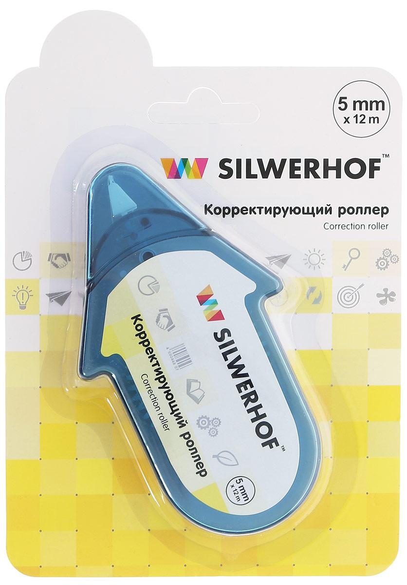 Silwerhof Корректирующий роллер цвет корпуса голубой 5 х 12000 мм443011_голубойКорректирующий роллер Silwerhof предназначен для внесения исправлений в текст. Держите роллер под углом. Нажмите и проведите по корректируемой поверхности. Время на высыхание не потребуется. Состав: вода, загуститель, титановые белила, связующее вещество, ABS пластик, полипропилен.